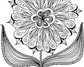 Lone Blossom Adult Coloring Page,INSTANT DOWNLOAD, Flower design, Instant PDF Download