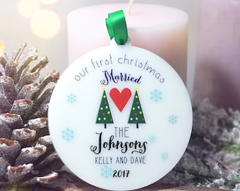 Personalized Our First Christmas Ornament Married Our First Christmas Together Ornament Just Married Custom Ornaments Christmas Gift #004