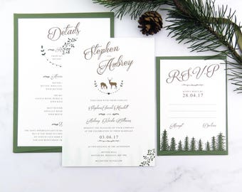 Woodland wedding invitation, Rustic wedding, Outdoor wedding stationery suite, Rustic wedding invitation, Forest wedding invite