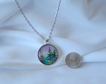 """Watercolor Art Pendant Necklace, Gift for Her, Mothers Day, Birthday, Jewelry, Nature, Fir Tree, Peaceful, 30mm Bezel,  36"""" Chain, Cabochon"""