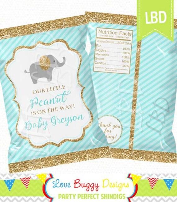 Elephant Baby Shower Chip Bag Printable Candy Bag Chip Bag