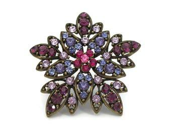Purple Violet Lavender Crystal Rhinestone Floral Brooch - Vintage Brass Gold Tone Large Big Flower Pin - Purple & Pink Wedding Formal Brooch