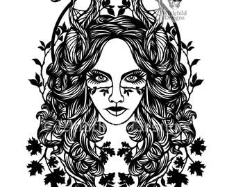 Autumn Fall Goddess Paper Cutting Template for Personal or Commercial Use Papercut Halloween Pagan Leaves Horned All Hallows Woman Equinox