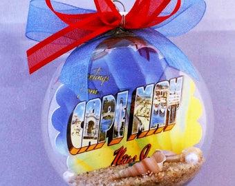 Cape May NJ New Jersey Shore Vintage Postcard Christmas Ornament - Adorable!