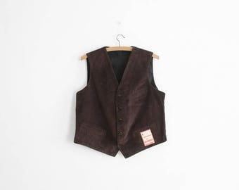 1950s Brown Corduroy Waist coat - Worker Vest - Made in France - NOS