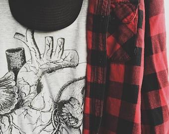 Mens Anatomical Heart Tshirt - Vintage Anatomy Print - Occult Print Graphic Tshirt - Graphic Tee - Graphic Top - Occult Shirt