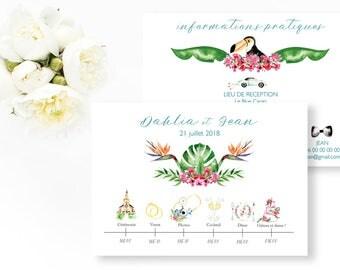 Tropical Wedding timeline - Tropical Wedding Timeline - Tropical Illustrated Program Timeline - Tropical wedding - Wedding program
