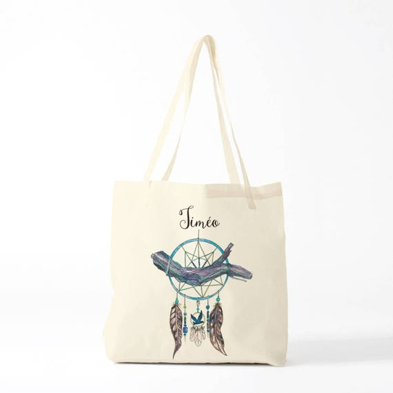 Tote bag, Dreamcatcher, blue, name, custom tote bag, canvas bag, novelty gift, gift coworker.