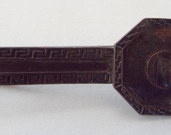 Vintage Sterling Silver Southwest Motif Design Initial Monogram 'G' Tie Clip