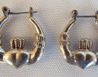 Vintage Sterling Silver 925 Irish Claddagh Heart Crown Pierced Earrings