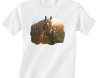 Toddler / Kids Equestrian Shirt - Long or Short Sleeve T-Shirt with Mare and Foal - Horse Clothing for Children