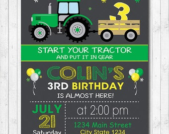 Tractor Birthday Invitation, Tractor Invite,  Farmer Invitation, Digital printable Invitation