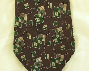 Vintage 30s Brown Green Silver Geometric Brocade Tie