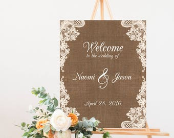 Rustic Wedding Signs Burlap And Lace Welcome To