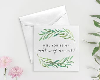 Matron of Honor Proposal, Will You Be My Matron of Honour Card, Matron of Honor Card, Bridal Party Cards, SKU: WYB002