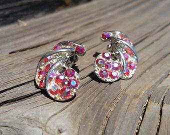 Vintage Swarovski Aurora Borealis Crystal Rhinestone Clip On Earrings
