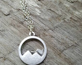 Simple Minimalist Silver Mountain Necklace