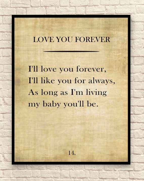 Love You Forever Custom Art Print Book Page Art Print Wall