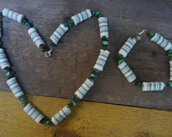 Jewelry Set, Fashionable, Candy Stripe, Fabric Necklace and Bangle, Bracelet with Semiprecious Stones, Handmade