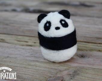 Needle Felted Panda - Tiny Felt Panda - Wool Panda Sculpture - Felted Panda Figurine - Felt Panda Home Decor - Gifts for Panda Lovers