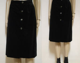 Vintage 70s Black Velvet Skirt High Waist Mid Length Vtg Retro 1970s Size S-M
