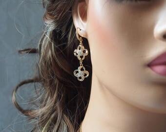 Gold Drop Crystal Flower Shaped Cubic Zirconia Earrings, CZ Hook Earrings, Dangle Earrings, Bridal, Wedding, Bridesmaids, Gift Ideas- 17G24E