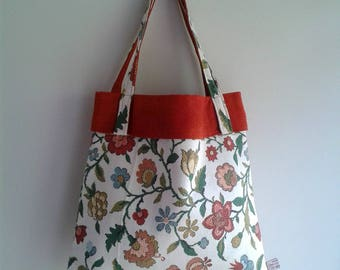 Orange and Flowers Tote Bag, Lined Bag, Floral Shopping Bag, Upcycled Tote Bag, Repurposed Bag, Recycled Tote, Floral Shoulder Bag