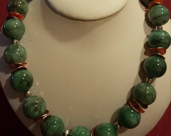 Genuine emerald  and sterling silver bead necklace