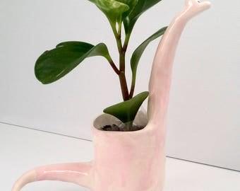 Ceramic Pink Dinosaur planter / indoor planter / succulent planter