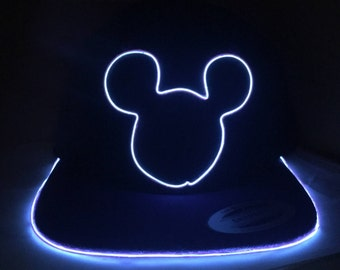 Light Up Disney Mickey Mouse Hat made with El Wire in all colors; blue, green, orange, yellow, pink, purple, white
