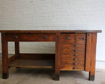 Industrial Factory Workstation With Drawers Circa 1930s