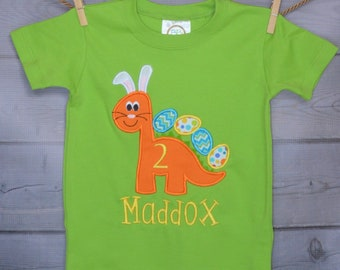 Personalized Easter Dinosaur with Bunny Ears and Eggs Applique Shirt or Onesie Girl or Boy