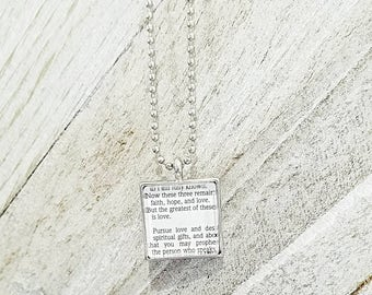 1 Corinthians 14:1/Vintage Necklace Pendant/Gift for Her/Gift for mom/Gift for Wife/Christian Jewelry/Vintage Jewelry/Custom Jewelry