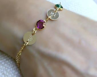 personalized initial bracelet two swarovski birthstones 2 letters monogram letter bracelet 14k Gold Filled Mothers bracelet monogram jewelry