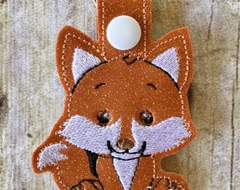 Fox - In The Hoop - Snap/Rivet Key Fob - DIGITAL EMBROIDERY Design