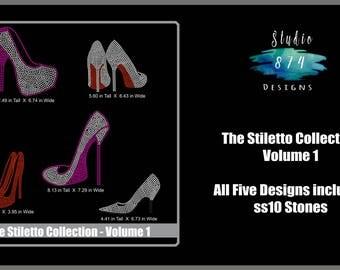 Shoe Bundle - Rhinestone Transfer Template Pattern Stencil DOWNLOAD ONLY - Stiletto Collection Volume 1 - Sticky Flock - SVG
