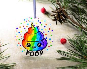 Funny Christmas Ornament, Unicorn Poop Emoji Gift, Funny Stocking Stuffer, Naughty Gift, Fairy Rainbow Tree Decoration