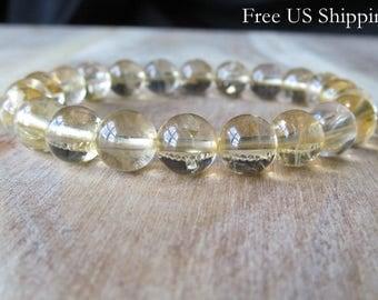 8mm Citrine Bracelet, Gemstone Bracelet, November Birthstone, AAA Grade Citrine, Womens or Mens Bracelet, Mala Yoga Jewelry, Mala Bracelet,