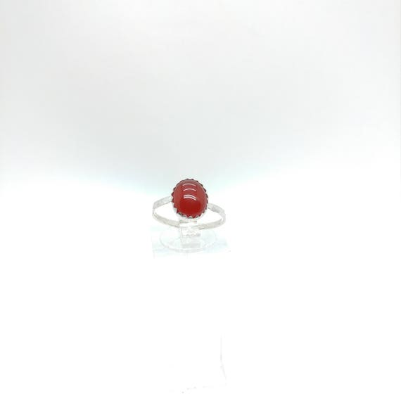 Carnelian Stone Ring | Sterling Silver Ring Sz 7.5 | Carnelian Agate Ring | Red Stone Ring | Gift for Her | Stone for Balance & Protection