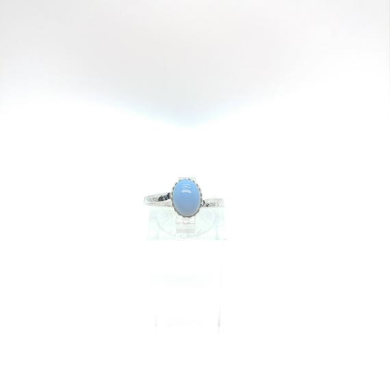 Owyhee Blue Opal Ring | Blue Stone Ring | Sterling Silver Ring Sz 8 | Blue Opal Jewelry | Simple Blue Ring | Oregon Opal Jewelry