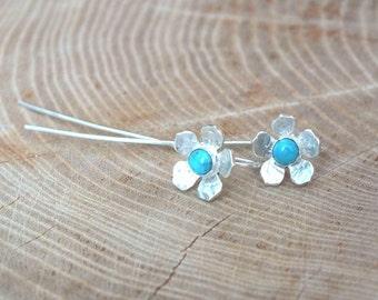 Silver Flower Earrings with a Long Stem, Sterling Silver Turquoise Flower Earrings, Long Flower Earrings