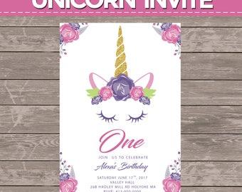 Unicorn Birthday Invites 12 prints