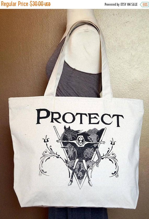 """ON SALE Zippered Tote Bag """"Protect"""" Black Ink on Natural Cotton"""
