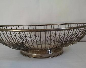 vintage silverplate wire fruit bowl wire basket