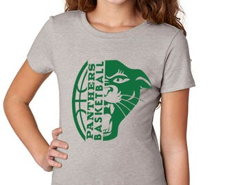 Girls'  Panther Basketball Shirt - School Spirit - Panthers - Heather Gray Girls T-Shirt