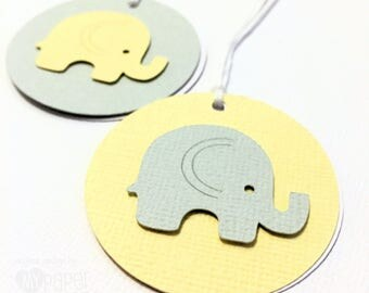 Small Elephant gift tags. Pastel Yellow and Grey swing tags. Gift tags. Baby showers, first birthday, birthday party, baby boy baby girl.