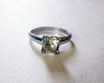 Art Deco Sterling silver paste solitaire antique engagement ring size 6.75