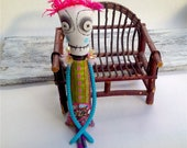 ooak art doll Anxiety Faerie stress relief doll with button eyes and embroidered and painted details