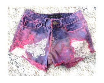 pink dyed shorts - OOAK painted shorts -pink upcycled shorts - pink denim shorts - upcycled high waisted shorts - size 2 -  # 29