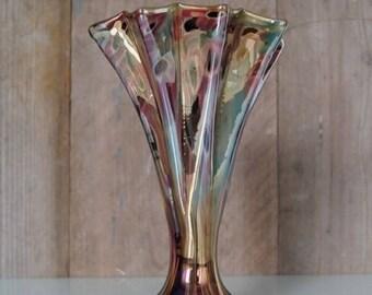 Kralik Eleonorenhain Iridescent glass, harmonica folded vase, mille Fleurs decor.